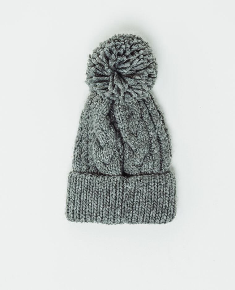 Bonnet à pompon gris