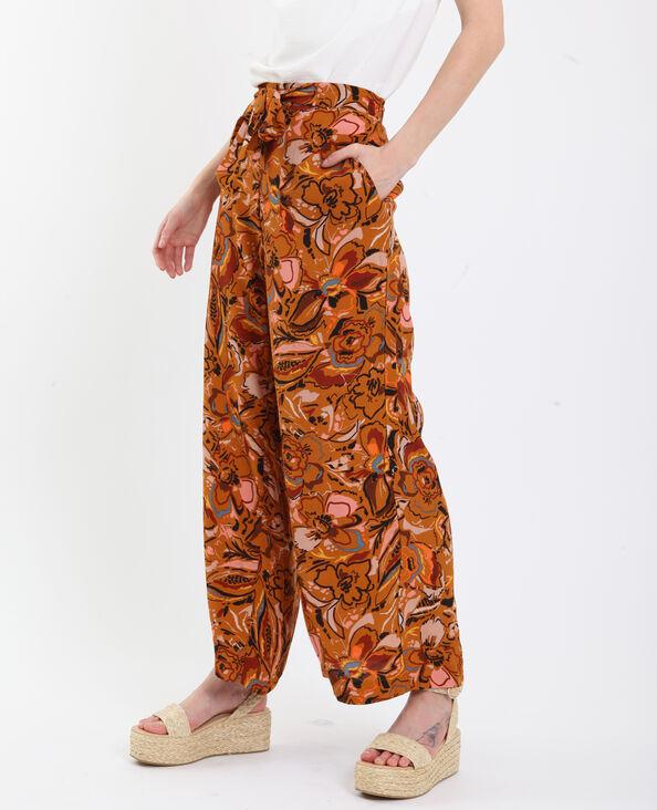 Pantalon fluide à imprimé marron