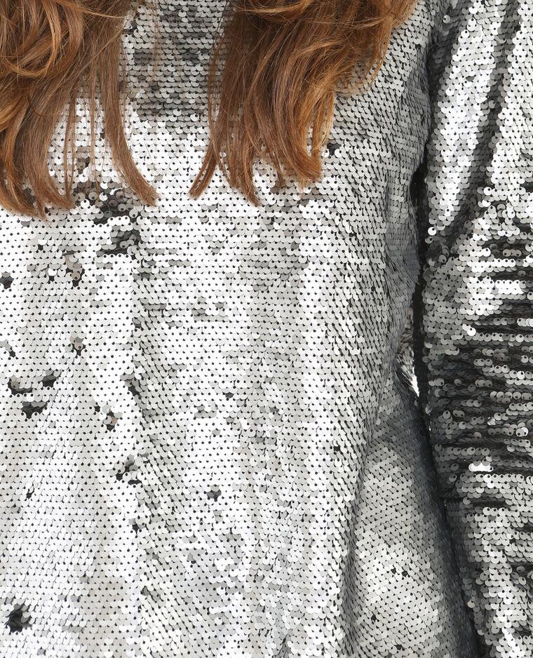 Blouse sequins gris argenté