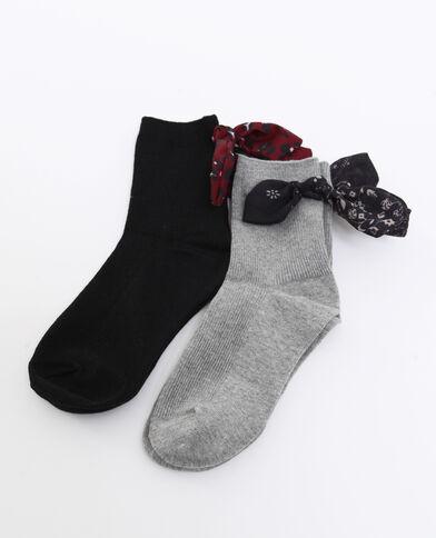 Lot de 2 paires de chaussettes à ruban gris perle