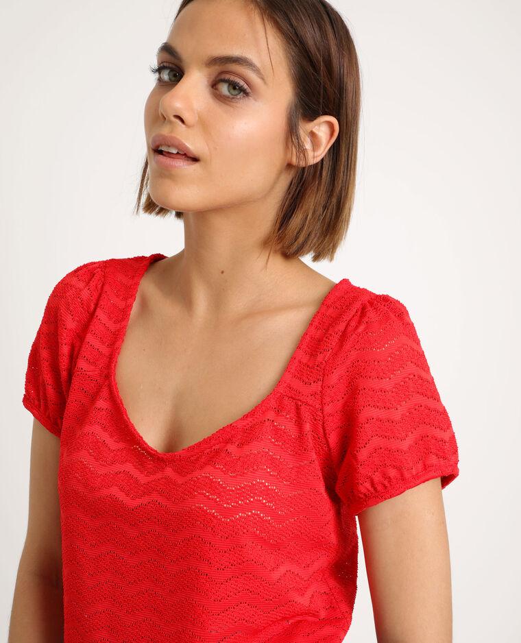 T-shirt ajouré rouge