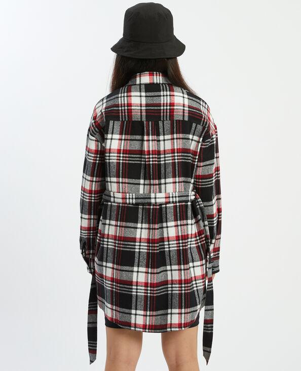 Chemise longue à carreaux noir - Pimkie