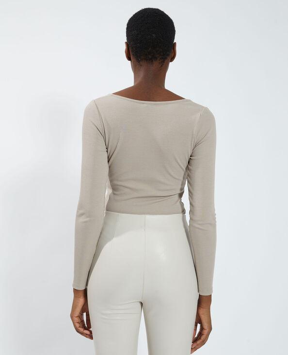 Body côtelé esprit corset marron - Pimkie