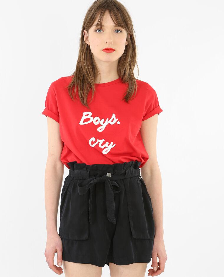 T-shirt à message rouge