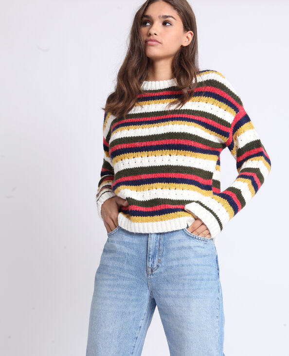 Pull en maille à rayures blanc