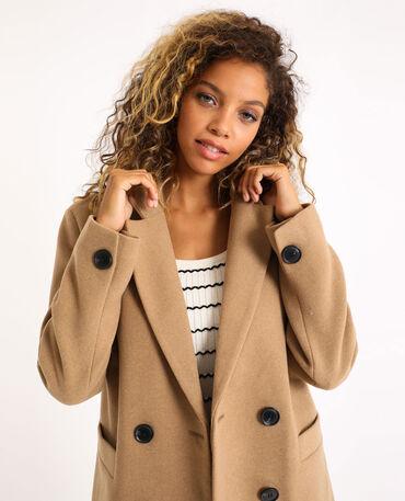 Manteau court avec ceinture Beige FEMME   H&M FR
