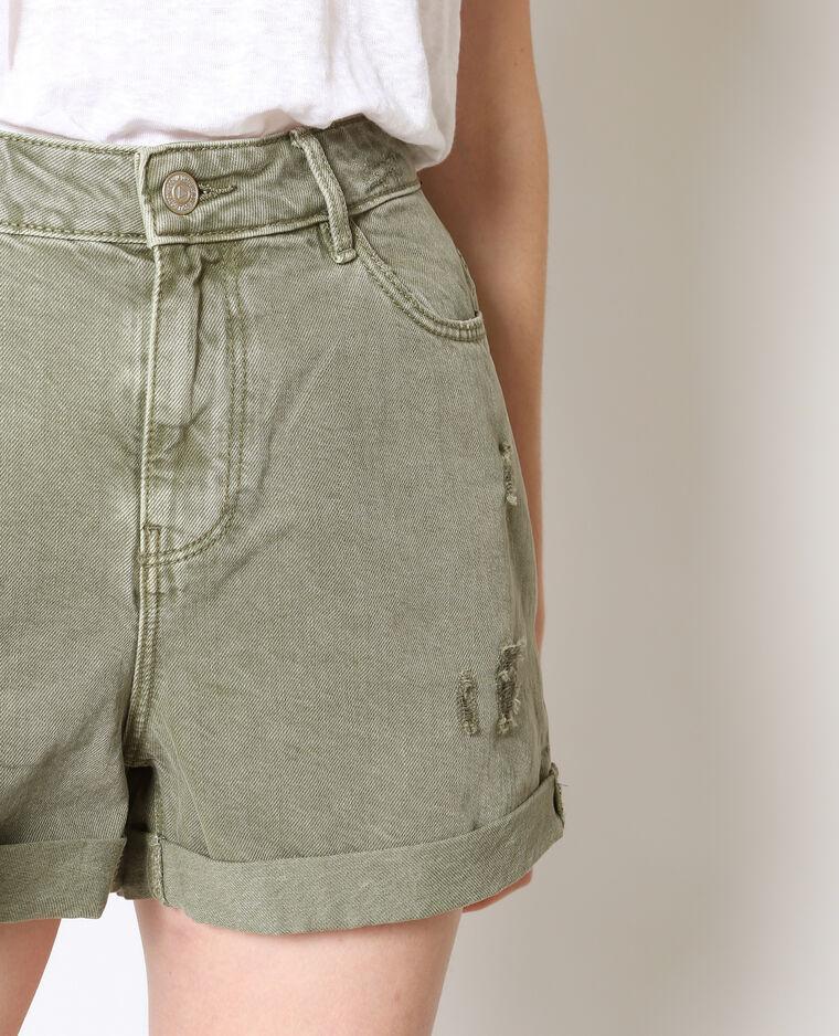 Short en jean destroy vert