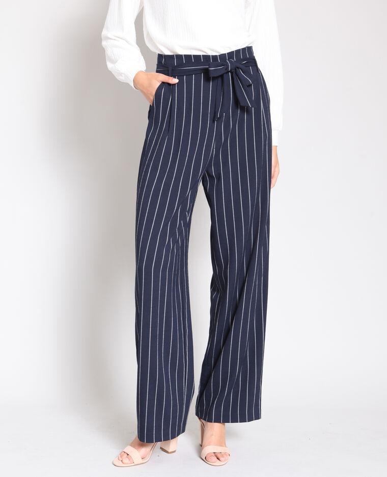 Pantalon large à rayures bleu marine