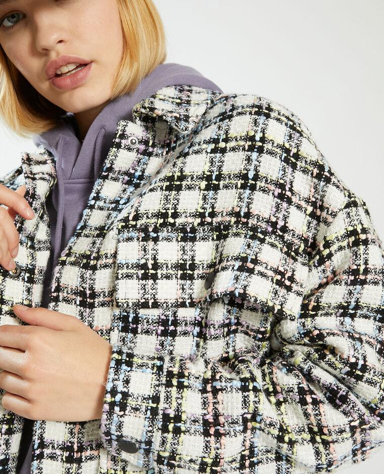Surchemise à carreaux effet tweed blanc - Pimkie