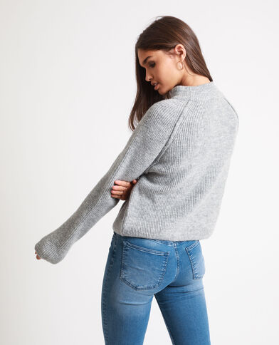 Pull court gris chiné
