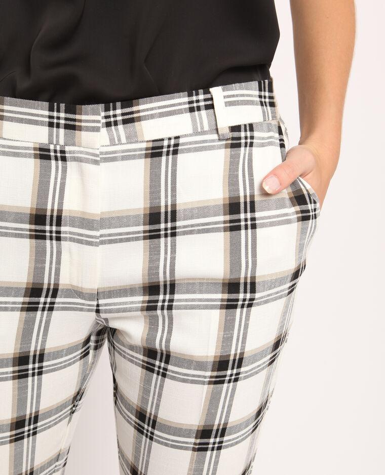 Pantalon à carreaux beige