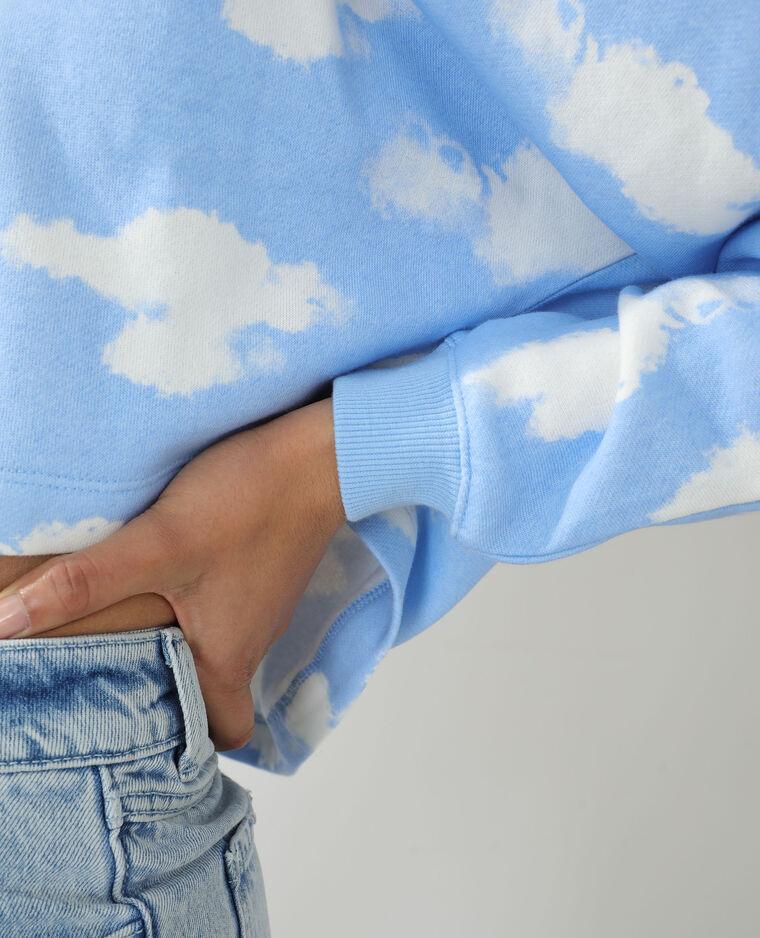 Sweat molleton à nuages bleu clair - Pimkie