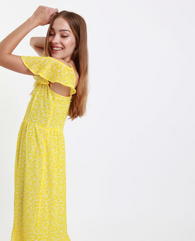 Robe longue épaules nues jaune