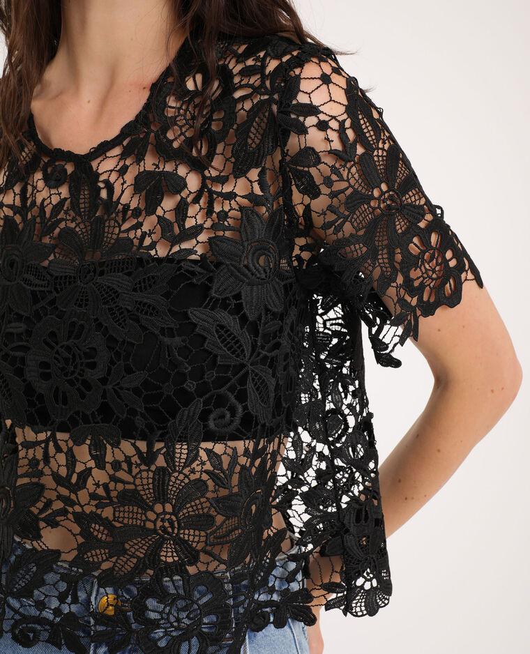 T-shirt en dentelle noir - Pimkie