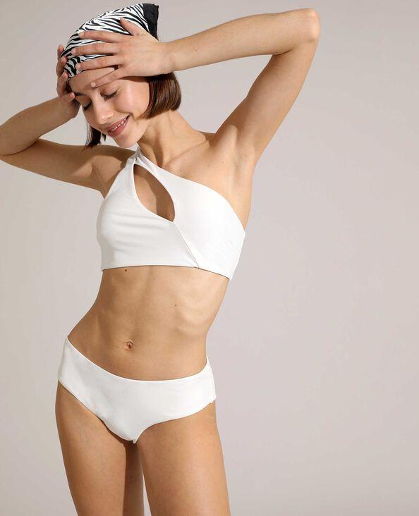 Haut de maillot brassière asymétrique cut out blanc
