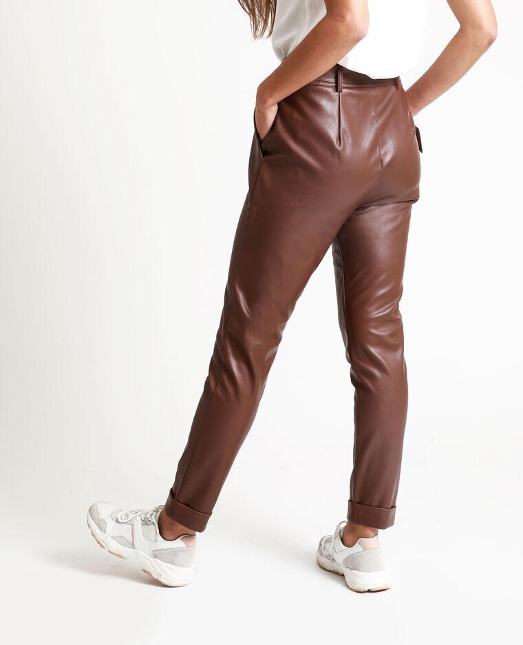 Pantalon en faux cuir marron - Pimkie