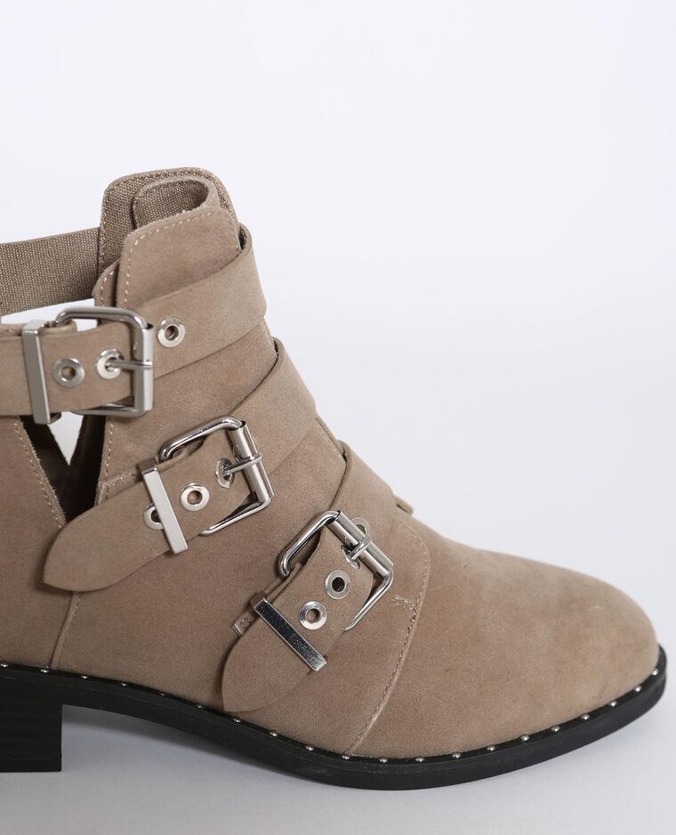 Boots à boucles écru