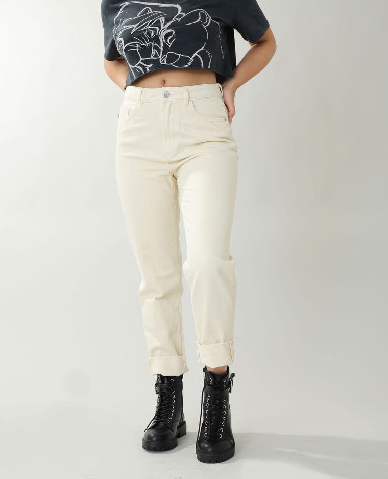 Jean straight high waist écru - Pimkie