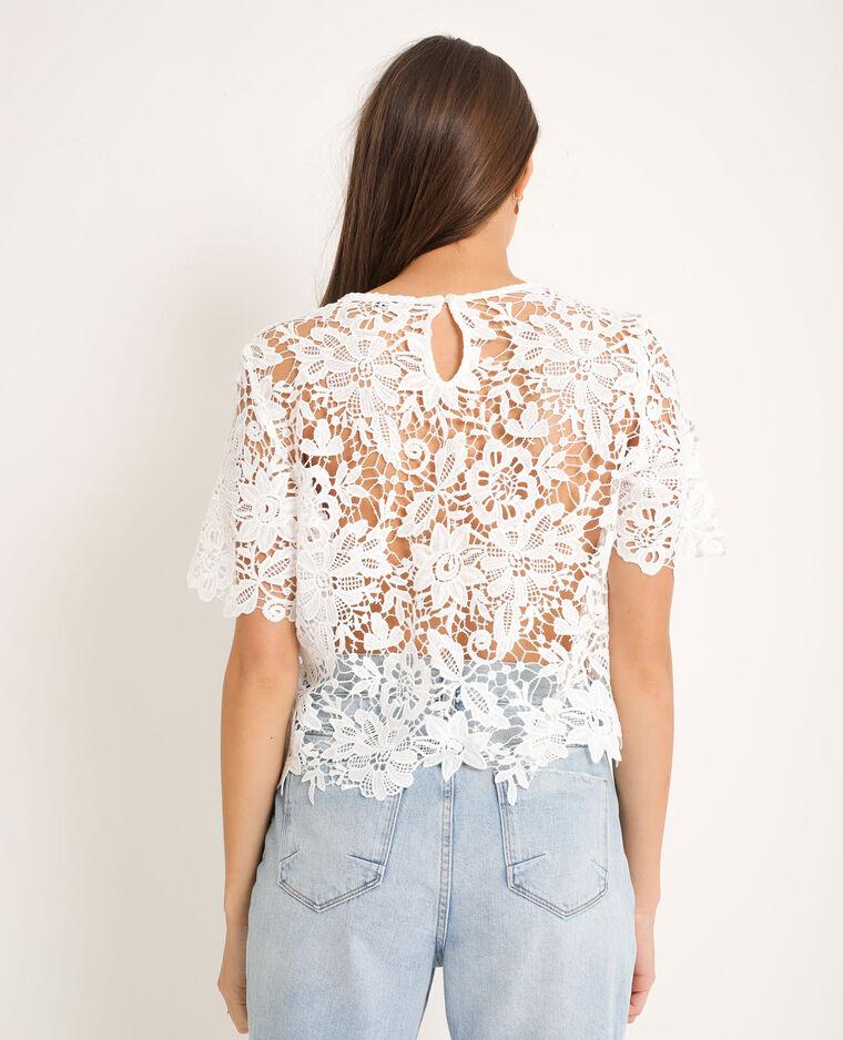 T-shirt en dentelle blanc cassé - Pimkie