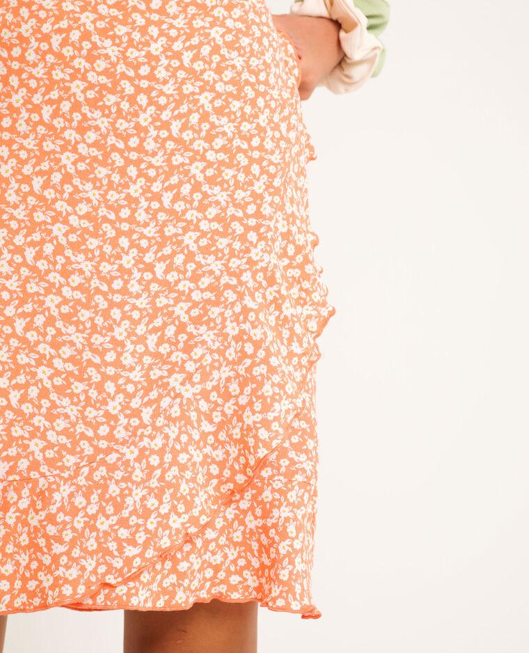Robe portefeuille à fleurs orange - Pimkie
