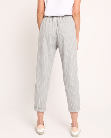 Pantalon city rayé gris chiné