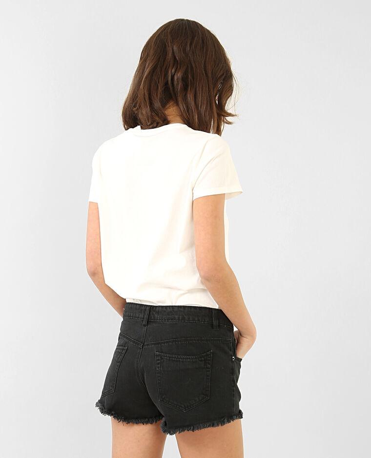 T-shirt broderie rose blanc