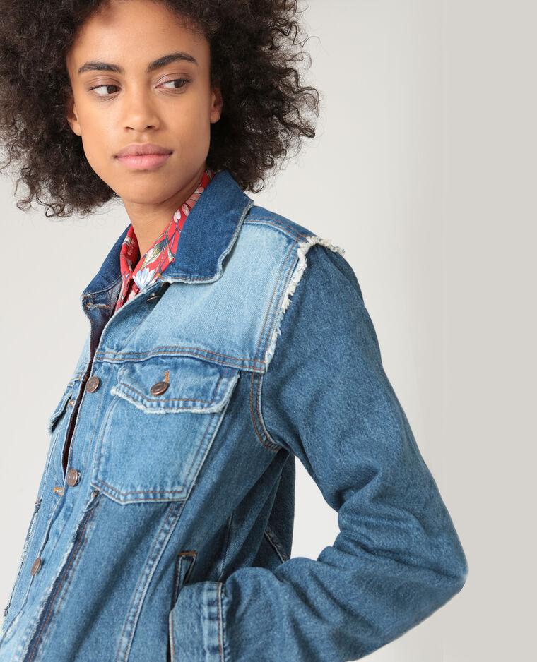 Veste en jean destroy bleu denim