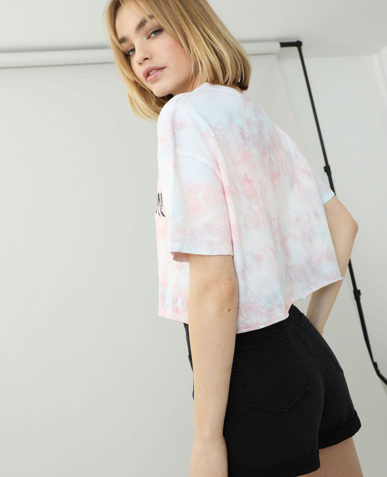 T-shirt cropped tie and dye rose - Pimkie