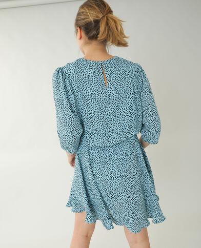 Robe trapèze à pois bleu