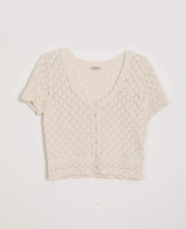 Top en crochet blanc cassé