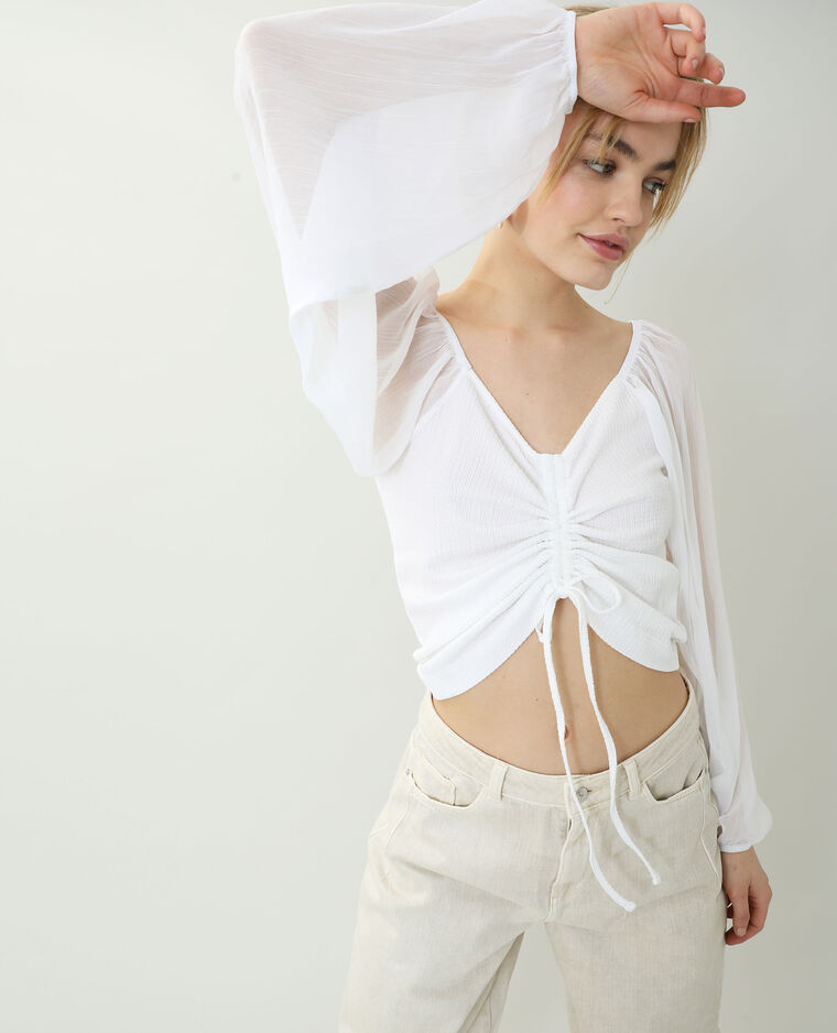 Top à manches transparentes blanc - Pimkie