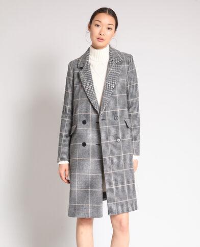 Manteau long pied de poule beige