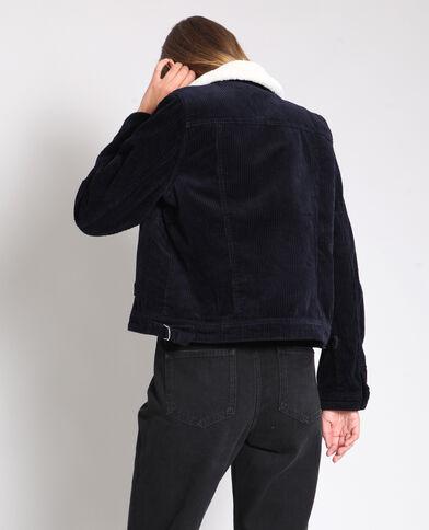 Veste courte velours bleu marine