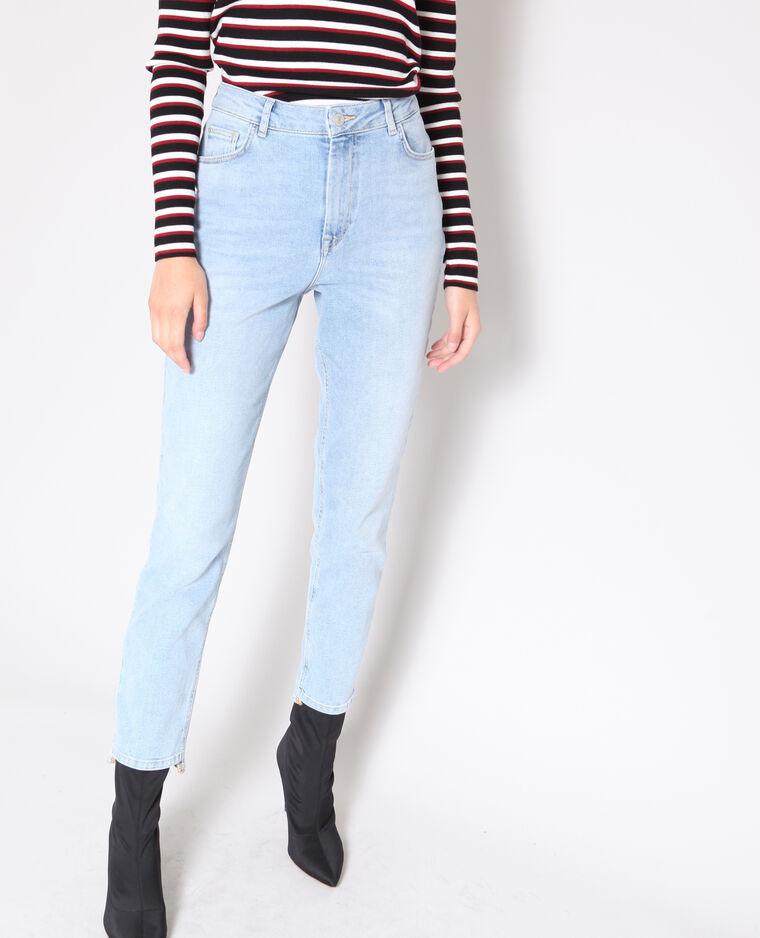 Jean slim taille haute bleu clair