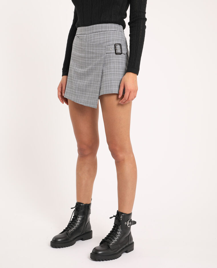 Jupe short à carreaux noir