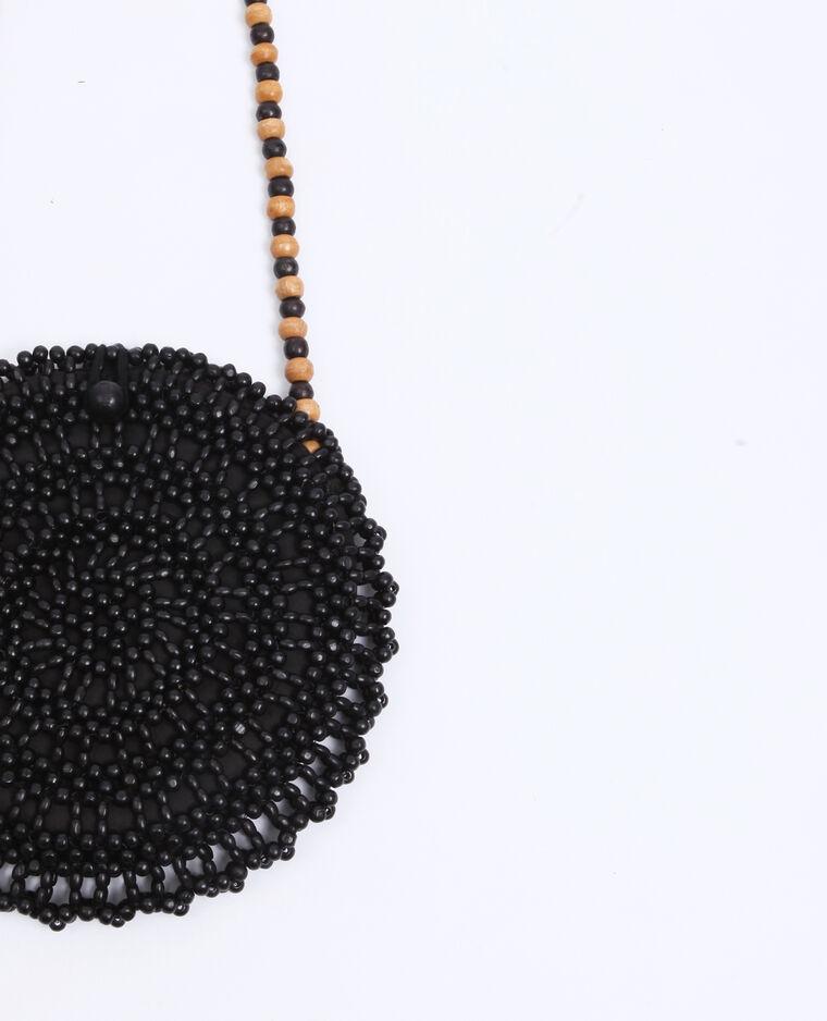 Sac rond en perles noir