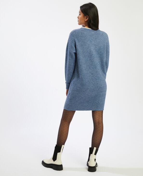Robe pull à col V bleu - Pimkie