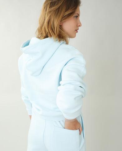 Sweat à capuche molleton bleu denim