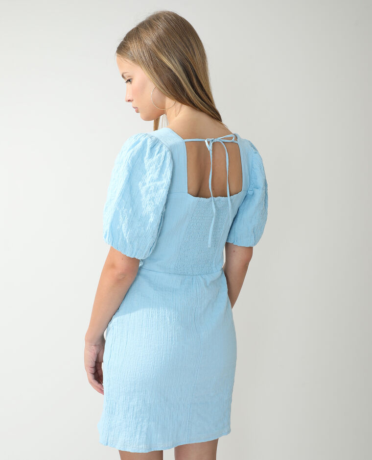 Robe froncée et smockée bleu - Pimkie