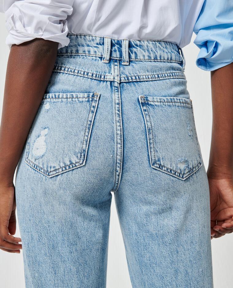 Jean straight high waist destroy bleu clair - Pimkie
