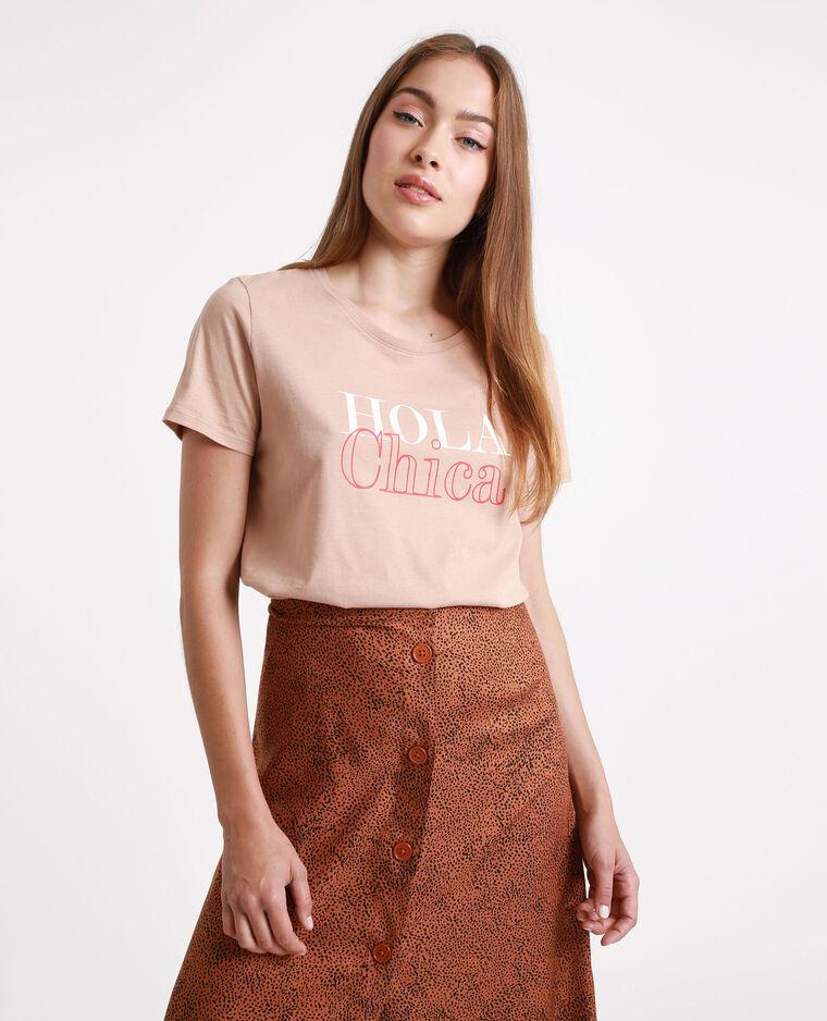 T-shirt à message beige