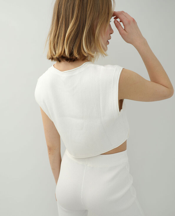 T-shirt tricot blanc cassé