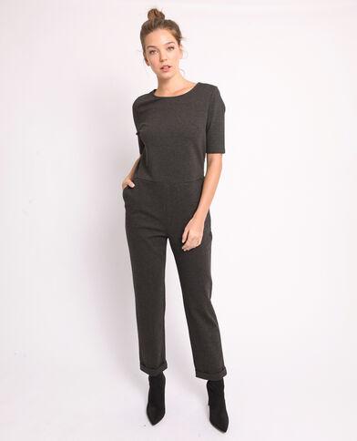 edd5a6930f08f Combi-pantalon à manches courtes gris chiné