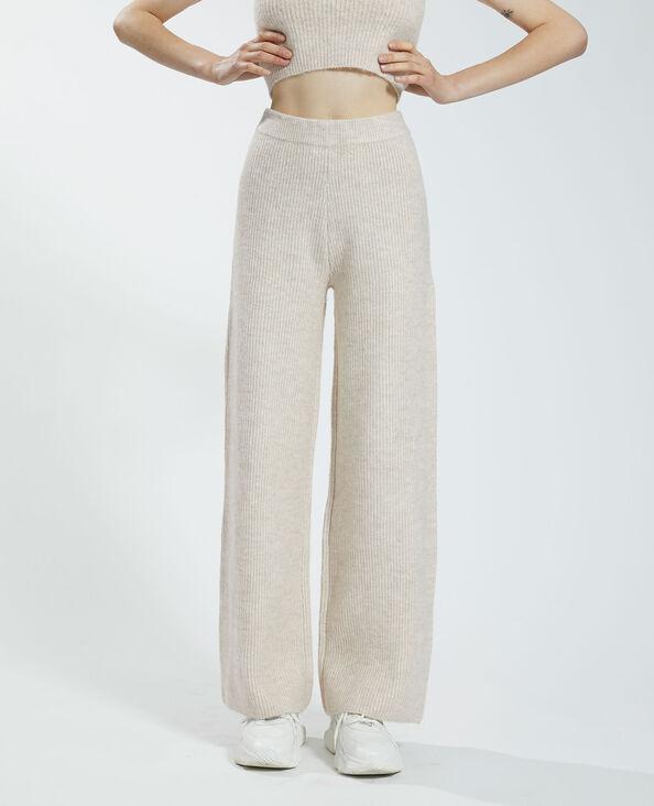 Pantalon wide leg côtelé beige rosé - Pimkie