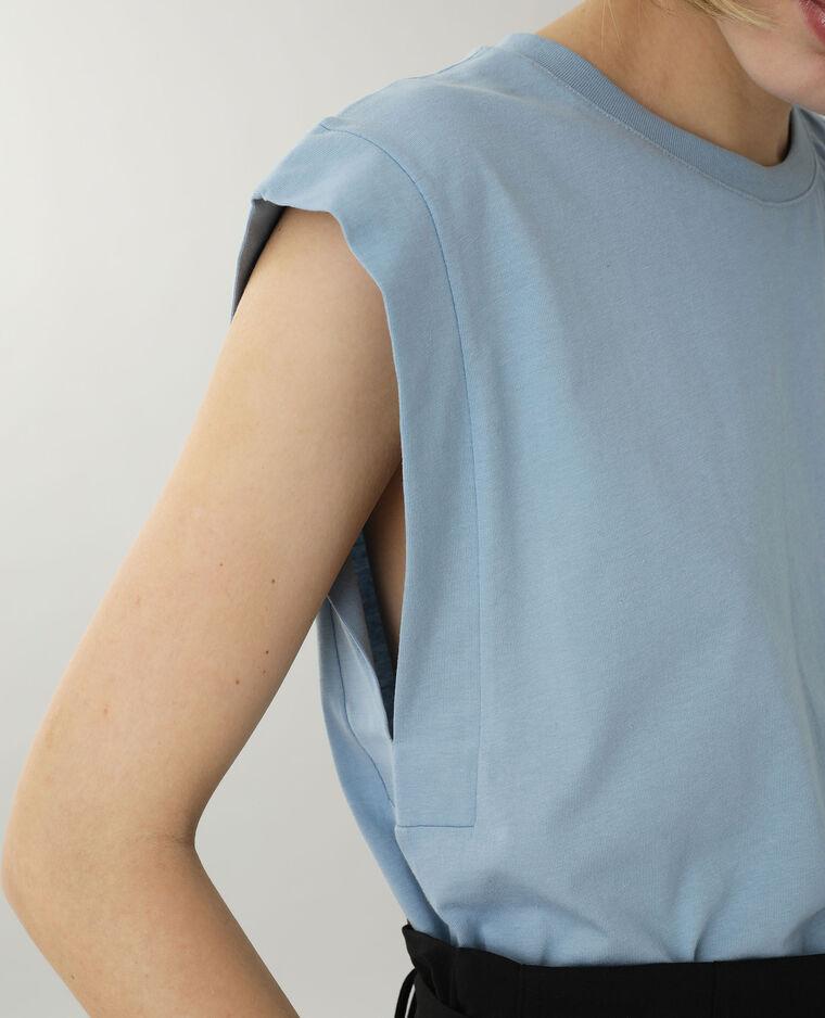 T-shirt sans manche bleu