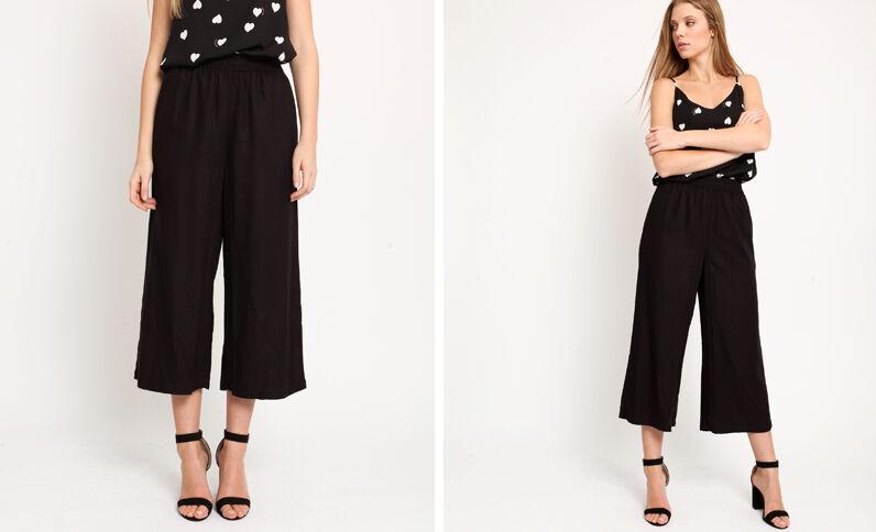 673db145b90 Pantalon à jambes larges noir