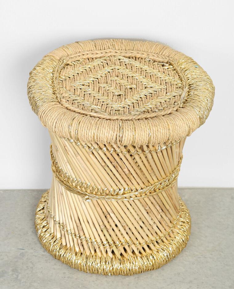 Petit tabouret tressé en bambou beige
