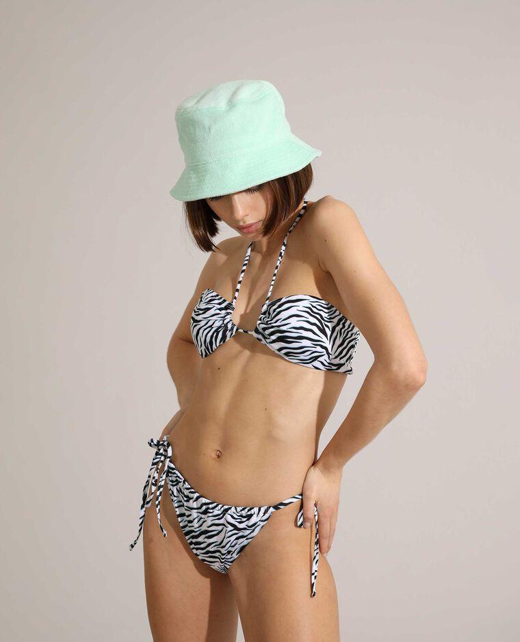 Haut de maillot de bain bandeau zébré et transformable blanc - Pimkie