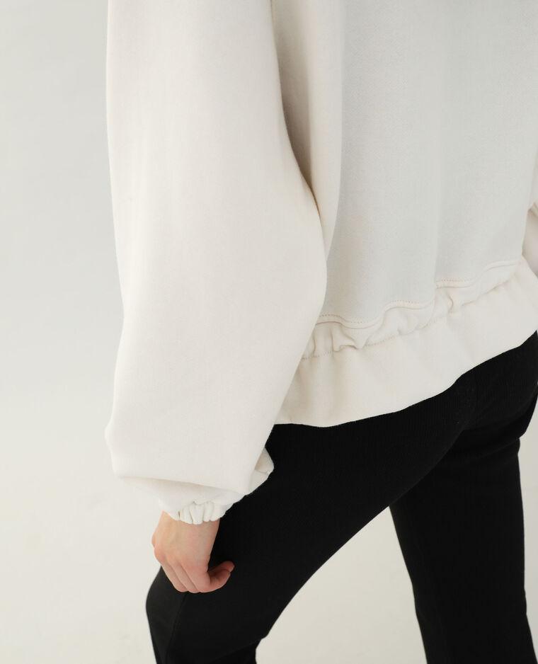 Veste à capuche blanc cassé
