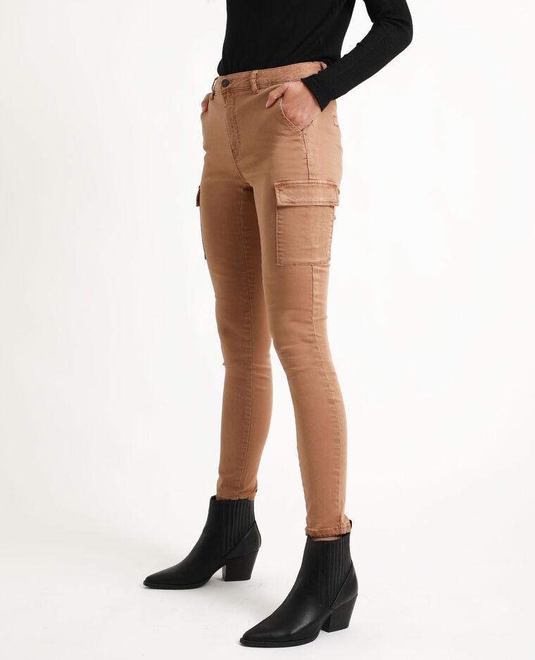 Pantalon cargo skinny caramel